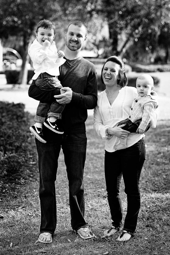 Black and white familiy photo