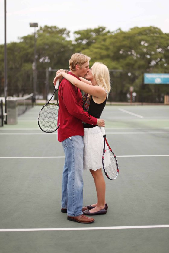 Tennis Engagement Session Photo