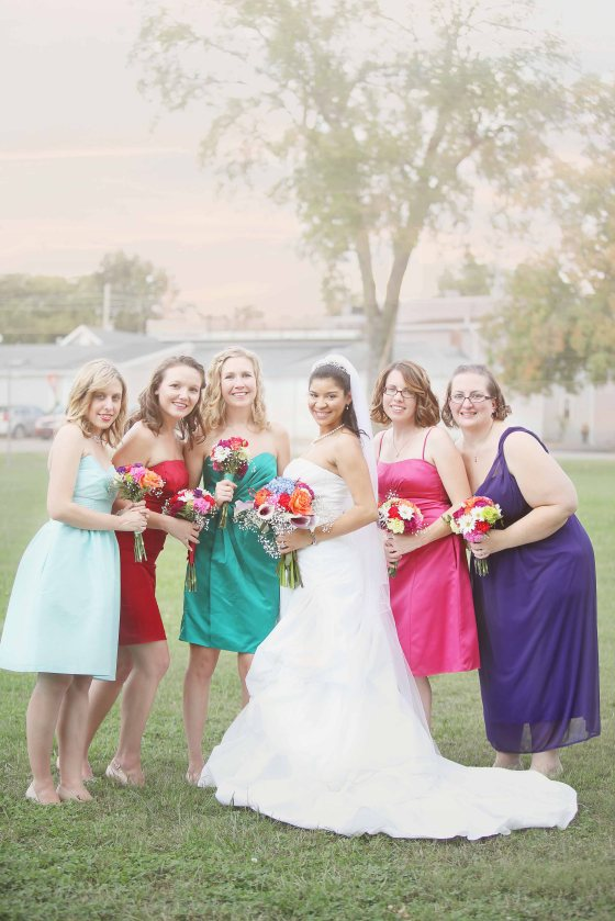 Bridesmaids colorful dresses in nashville
