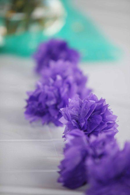 purple paper puffs