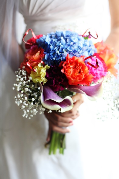 Colorful Rainbow Bouquet wedding